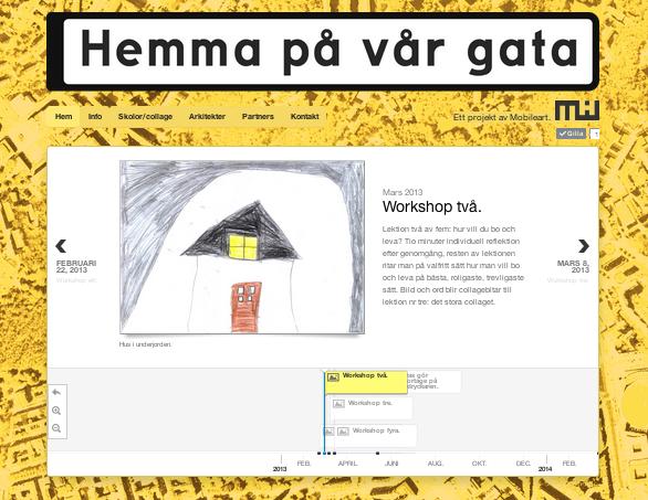 Screenshot av hemsida för Hemma på vår gata